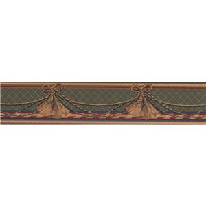 Retro Art Curtain Traditional Wallpaper Border - Brown/Green