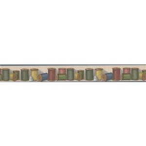 Norwall Spools of Thread Kitchen Wallpaper Border - Multicoloured