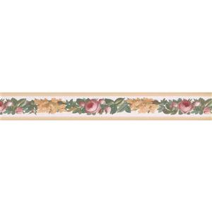 Retro Art Roses Floral Wallpaper Border - Pink
