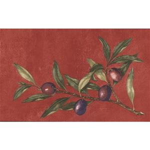 Norwall Retro Berries on Vines Wallpaper Border - Purple