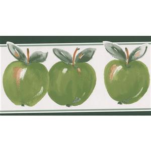 Norwall Retro Apple Wallpaper Border Roll - 15' - Green/White