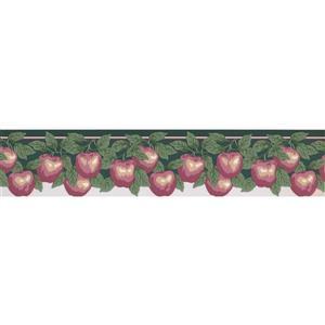 Retro Art Apple Wallpaper Border Roll - 15' - Red