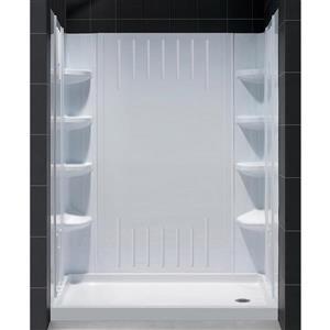DreamLine QWALL-3 Shower Base Kit - 36-in - Acrylic - White