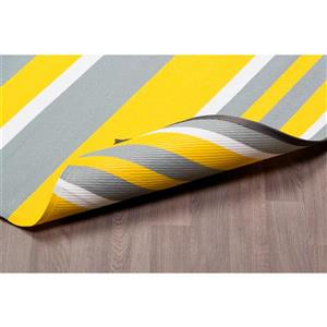 Erbanica Fiesta Outdoor Plastic Yellow Stripe Rug - 5' x 8'