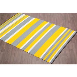Erbanica Fiesta Outdoor Plastic Yellow Stripe Rug - 6' x 9'