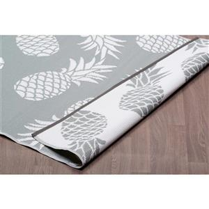Erbanica Pineapples Outdoor Plastic Grey Rug - 6' x 9'