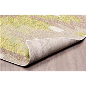 Erbanica 7x9 Indoor-Outdoor Polypropylene Ivory Sand Green Rug