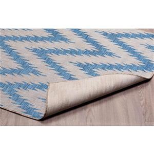 Erbanica Indoor-Outdoor Polypropylene Rug - Blue/Grey - 5' x 8'