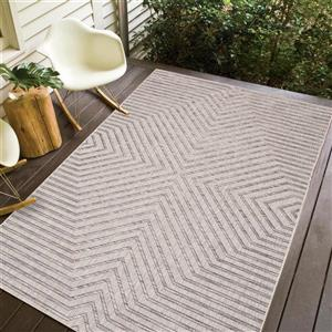 Erbanica Indoor-Outdoor Polypropylene Rug - Grey/Beige - 7' x 9'