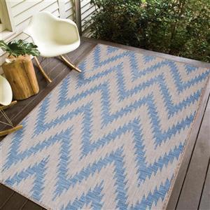 Erbanica Indoor-Outdoor Polypropylene Rug - Blue/Grey - 3' x 5'