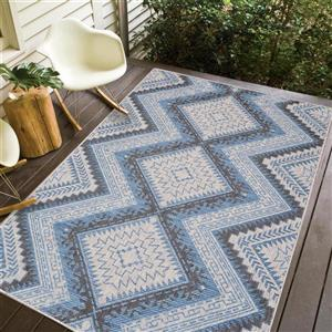 Erbanica Indoor-Outdoor Polypropylene Rug - Grey/Blue - 8' x 10'