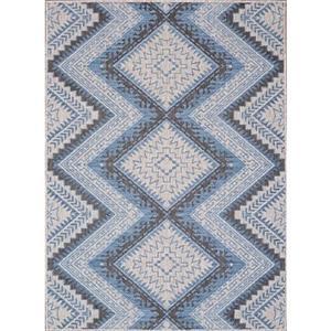 Erbanica Indoor-Outdoor Polypropylene Rug - Grey/Blue - 3' x 5'