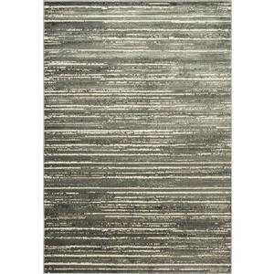 Erbanica Modern Stripe Ivory Grey Soft Pile Rug - 5' x 8'