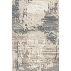 Erbanica Textured Polypropylene Cream Dark Grey Rug - 5 x 8'