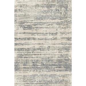 Erbanica Textured Polypropylene Silver Grey/Dark Grey Rug - 5 x 8'