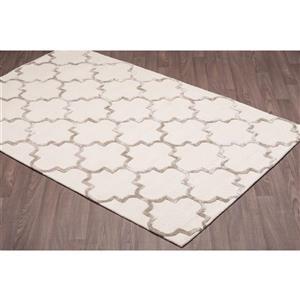 Erbanica Handmade Ivory Beige Modern Trellis Wool Viscose Rug 5' x 8'
