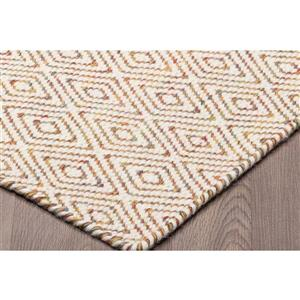 Erbanica Diamond Flat Weave Reversible Wool Rug - Ivory - 5' x 8'