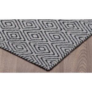 Erbanica Diamond Flat Weave Reversible Wool Rug - Grey/Black - 8' x 10'