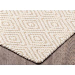Erbanica Diamond Flat Weave Reversible Wool Rug - Beige - 5' x 8'
