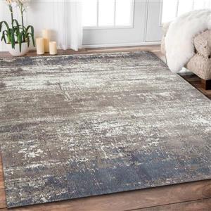 Erbanica Handmade Chenille Cotton Grey Beige Abstract Rug - 5' x 8'