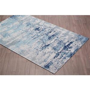 Erbanica Handmade Chenille Cotton Blue Abstract Rug - 5' x 8'