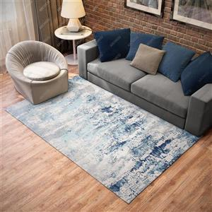 Erbanica Handmade Chenille Cotton Blue Abstract Rug - 8' x 10'