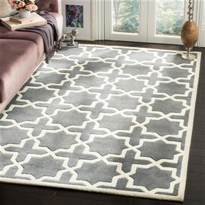 Chatham Square Rug - 8.8' x 8.8' - Wool - Dark Grey/Ivory