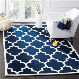 Chatham Square Rug - 8.8' x 8.8' - Wool - Dark Blue/Ivory