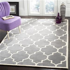 Chatham Square Rug - 8.8' x 8.8' - Wool - Dark Grey/Ivory