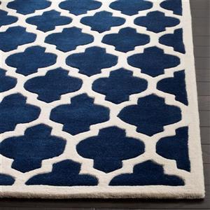 Chatham Square Rug - 8.8' x 8.8'- Wool - Dark Blue/Ivory