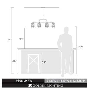Golden Lighting Seaport Linear Pendant Light - Pewter