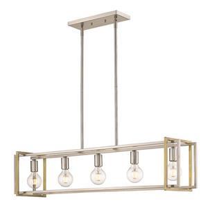 Golden Lighting Tribeca Linear Pendant Light - Pewter/Aged Brass