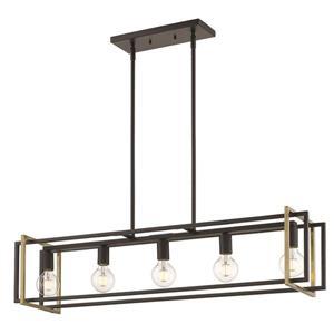 Golden Lighting Tribeca Linear Pendant Light - Black/Aged Brass