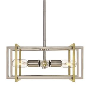 Golden Lighting Tribeca 4-Light Pendant Light - Pewter/Aged Brass