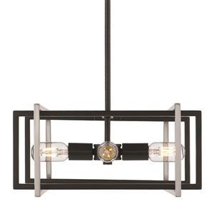 Golden Lighting Tribeca 4-Light Pendant Light - Black/Pewter