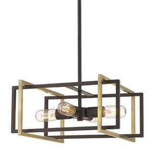 Golden Lighting Tribeca 4-Light Pendant Light - Black/Aged Brass