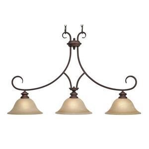 Golden Lighting Lancaster 3-Light Linear Pendant Light - Bronze