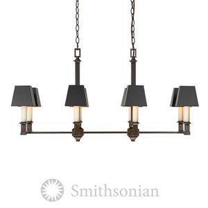 Golden Lighting Bradley Linear Pendant Light with Shades - Bronze/Black