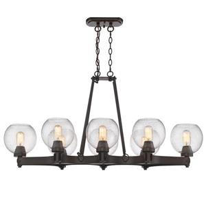 Golden Lighting Galveston 8-Light Linear Pendant Light - Bronze