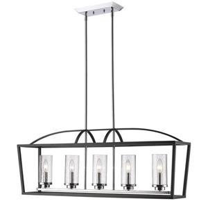 Golden Lighting Mercer 5-Light Linear Pendant Light - Black
