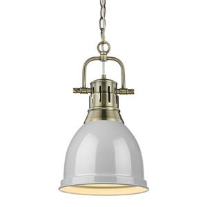 Golden Lighting Duncan Pendant Light with Chain and Shade -  Aged Brass