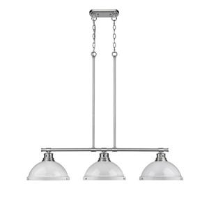 Golden Lighting Duncan 3-Light Linear Pendant Light with Chain - Pewter