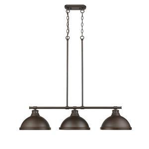 Golden Lighting Duncan 3-Light Linear Pendant Light with Chain - Bronze