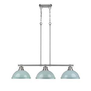 Golden Lighting Duncan 3-Light Linear Pendant Light with Shades - Pewter