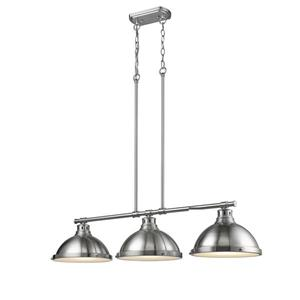 Golden Lighting Duncan 3-Light Linear Pendant Light with Shade - Pewter