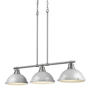 Golden Lighting Duncan 3-Light Linear Pendant Light with Shades - Pewter