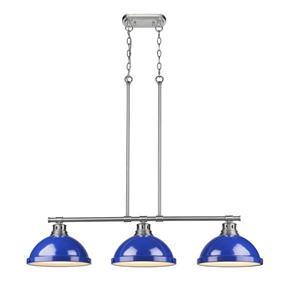 Golden Lighting Duncan 3-Light Linear Pendant Light with Shade - Pewter