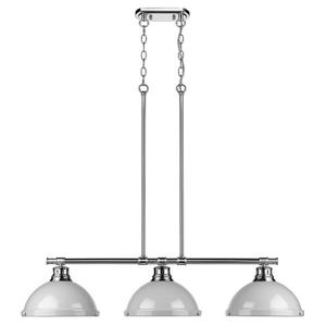 Golden Lighting Duncan 3-Light Linear Pendant Light with Shades - Chrome