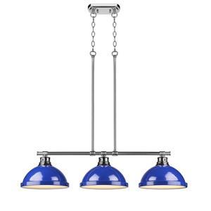 Golden Lighting Duncan 3-Light Linear Pendant Light with Shades - Chrome