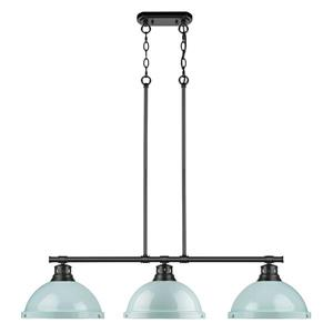 Golden Lighting Duncan 3-Light Linear Pendant Light with Shades - Black